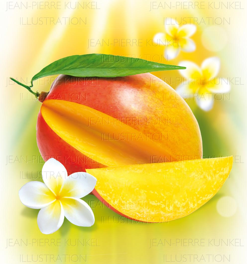 Mango und Frangipaniblüten