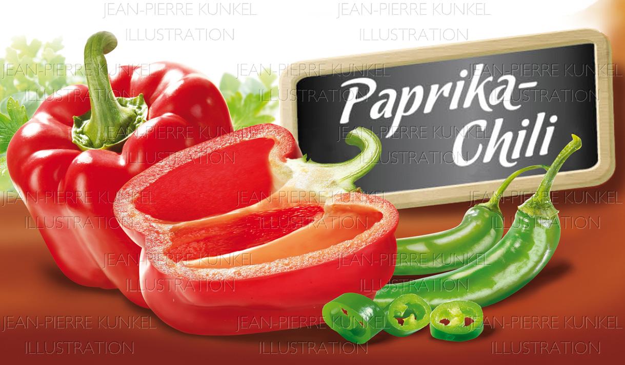 Paprika und grüne Chili