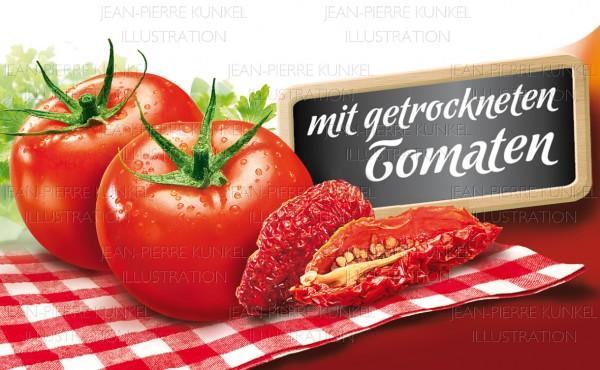 Frische und getrocknete Tomaten