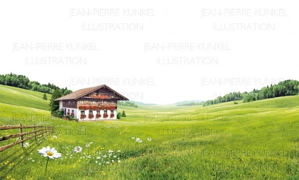 Almlandschaft mit Hütte