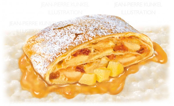 Illustration Apfelstrudel